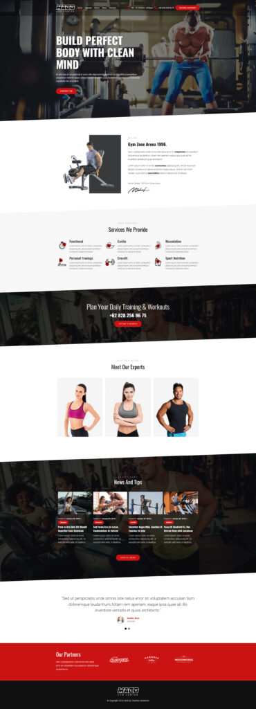 Website design for gym and fitness